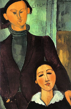 Oil painting of Jacques Lipchitz and his wife Berthe Weill.