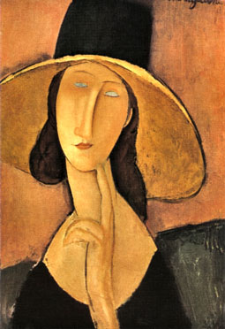 "Oil painting - Jeanne Hébuterne wearing a ""big straw hat""."